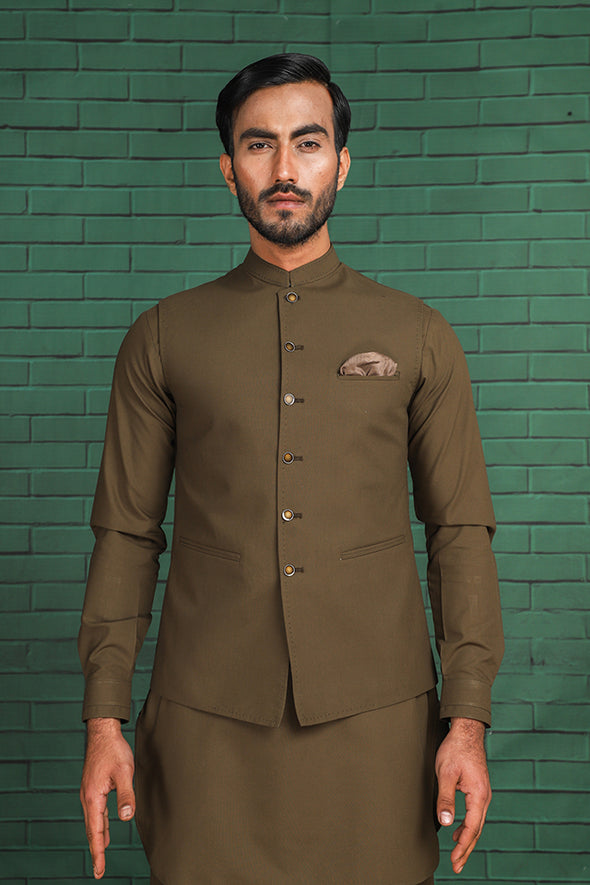 commando green cotton waistcoat for men