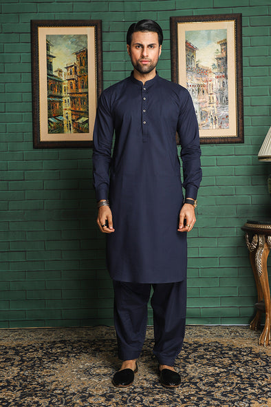 navy blue latha stitched men