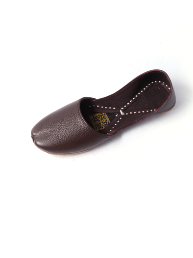 handmade brown pure leather khussa for girls