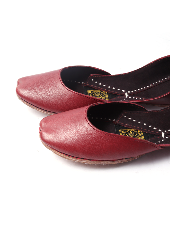 handmade red pure leather khussa for girls