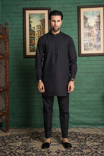 black trouser kurta for men