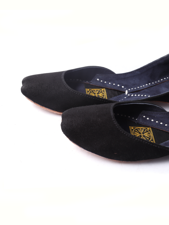 black suede leather handmade khussa