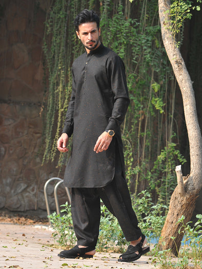 black pure wool men stitched suit