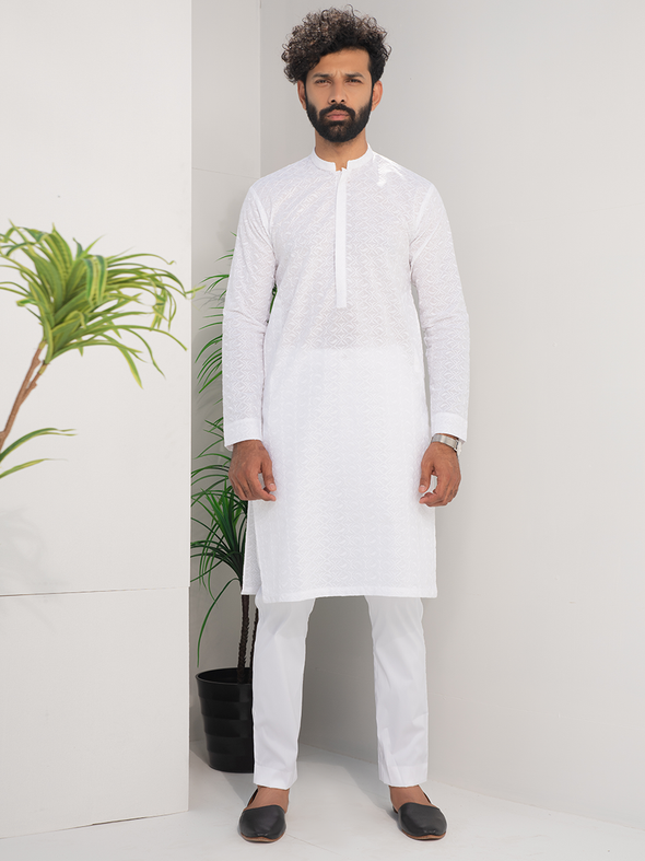 white cotton embroidered kurta for men