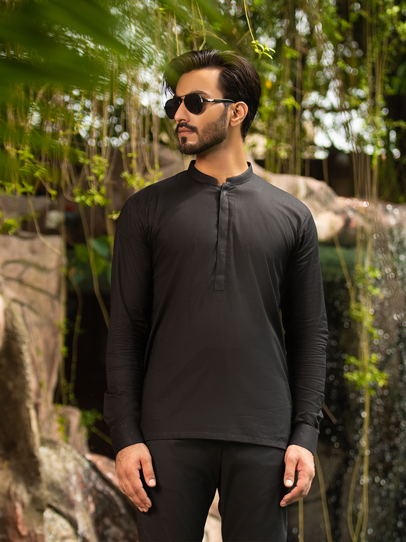 black cotton short kurta for men
