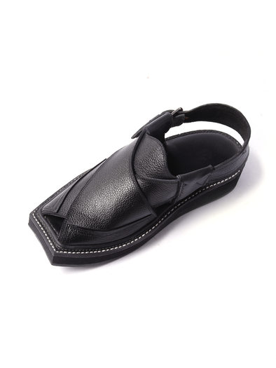 pure leather black handmade shoe
