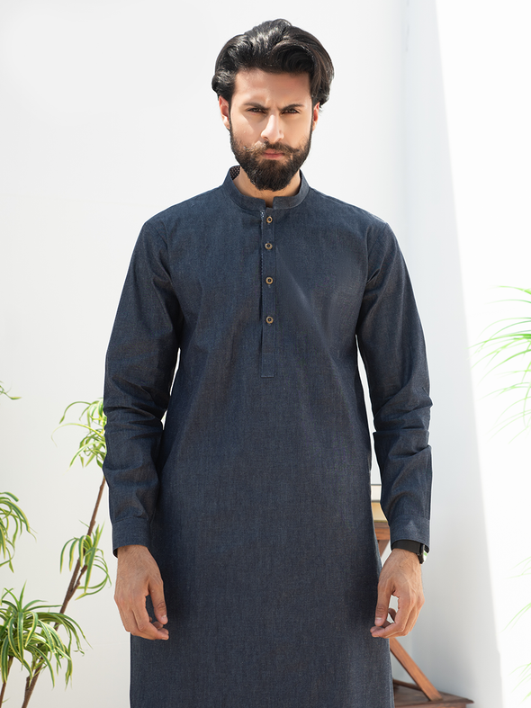 blue cotton men stitched suit