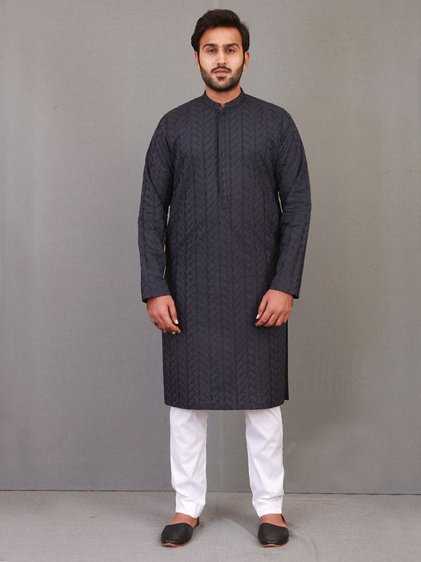 navy blue cotton embroidered kurta for men