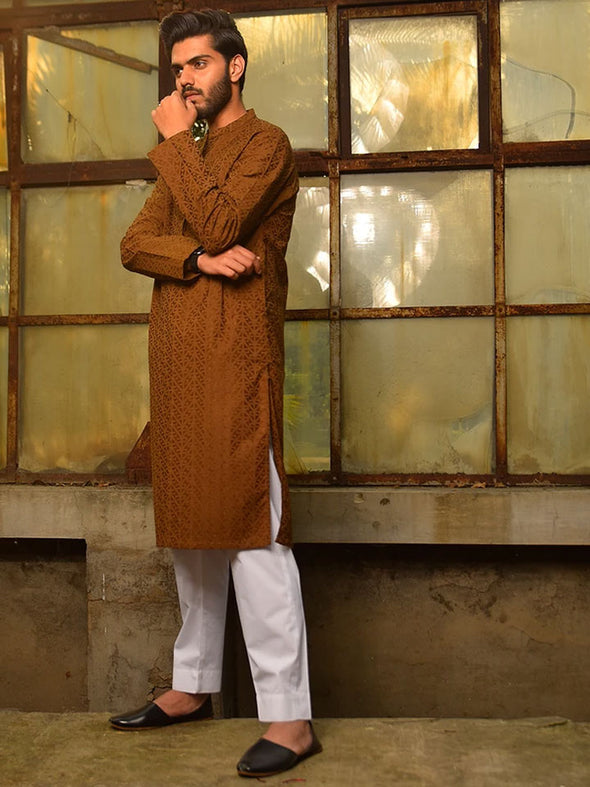 brown cotton embroidered kurta for men