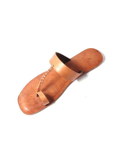 tan brown leather handmade kolapuri