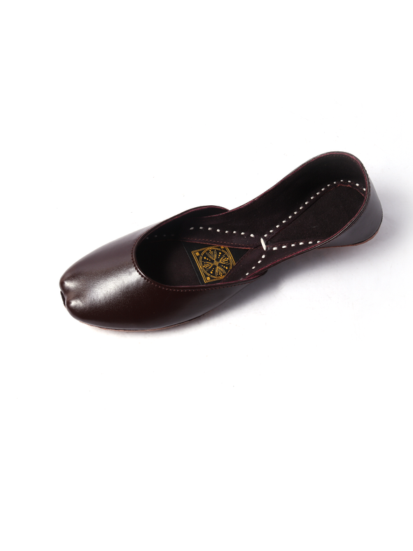 handmade dark brown pure leather khussa for girls