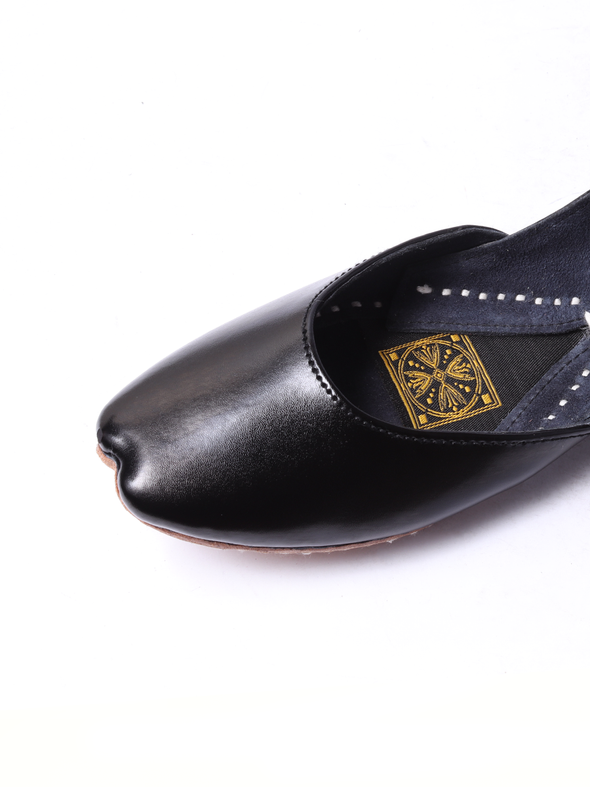 handmade black pure leather khussa for girls
