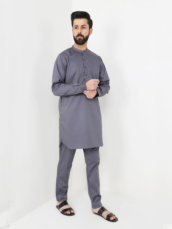 grey men's kurta trouser
