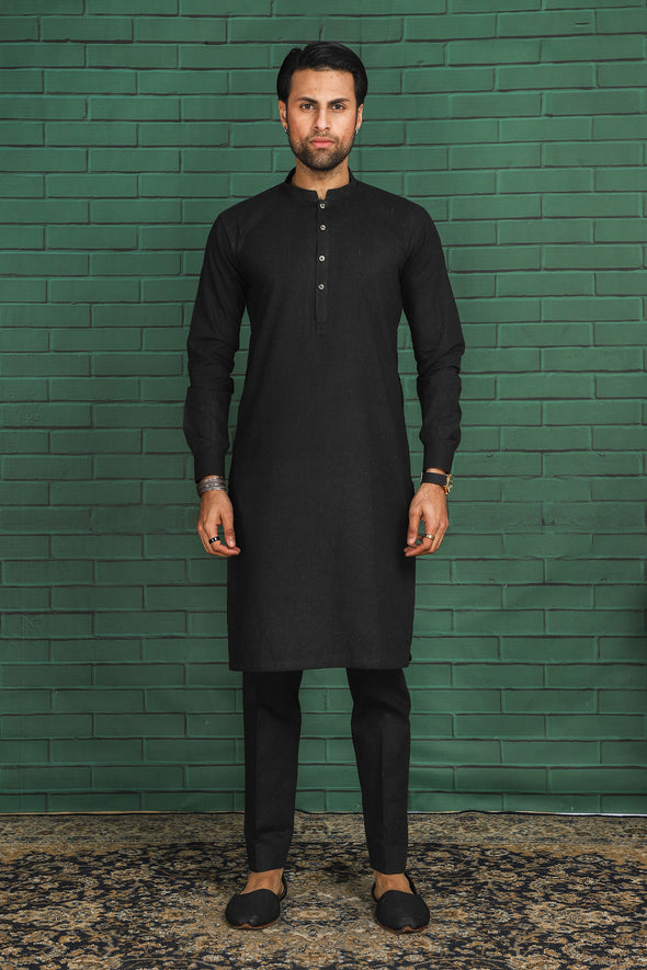 black cotton kurta trouser