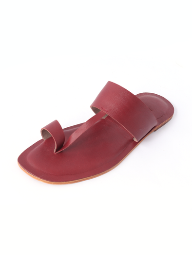 red pure leather handmade kolapuri