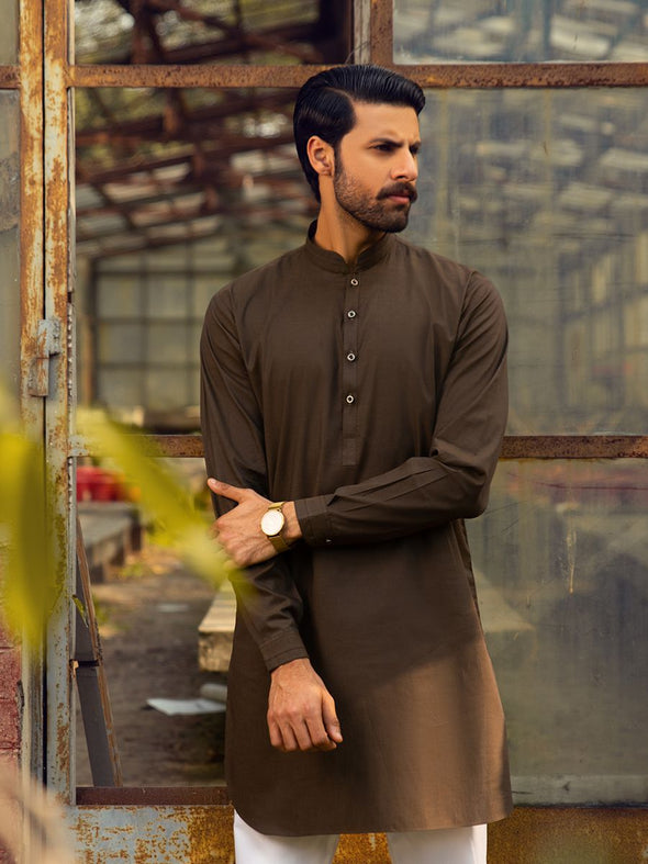 brown cotton kurta for men
