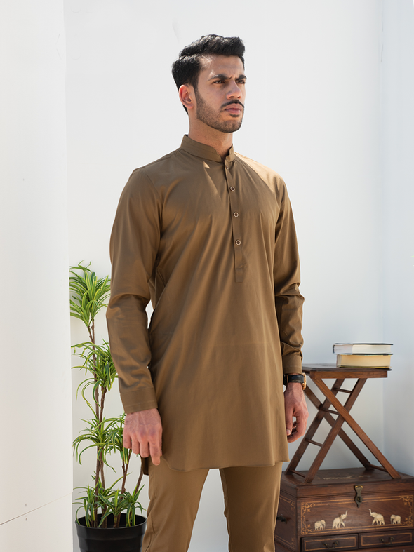 olive green men's kurta trouser