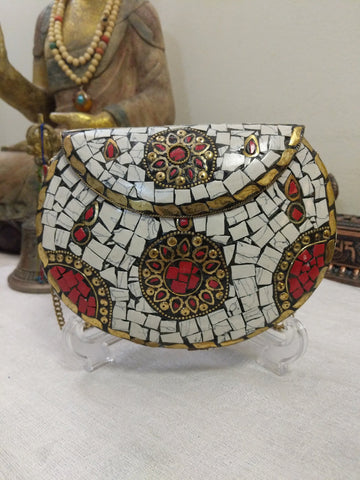 Handmade On-trend metal, stones and mosaic bag/evening bag/Clutch bag/Vintage bag.