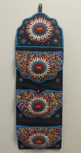Hand stitch beads letter pockets wall hanging in Tibetan Tribal style.