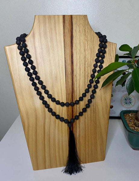 108 Mala Beads Necklace Jewelry, Prayer Beads, Meditation beads of 8/10 mm Lava Stone with Tassel.