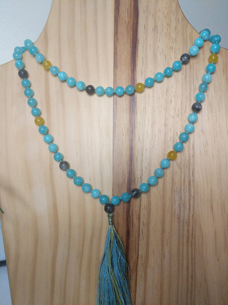 108 Mala Beads Necklace, Prayer Beads, Meditation beads of 8 mm Healing Amethyst/Tiger Eye/Blue Amazonite/Jade Beads.