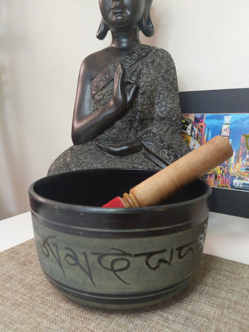 Tibetan Singing bowl 6 Inch from Aluminum with Om Mani Padme Hum mantra painting & free cushion.