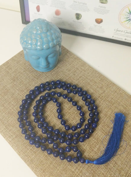 108 Mala Beads Necklace, Prayer Beads, Meditation beads of 8/10 mm Natural Lapis Lazuli Beads with Tassel.