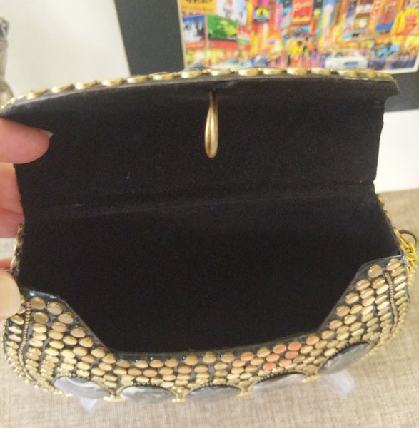 Boho Clutch Metal & Stones Evening Crossbody Vintage Bag, Handmade Mosaic Purse, Chic metal On-Trend One of a Kind Bag.