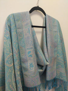Pashmina & Silk Shawl-Scarf-Wrap in Vibrant Pastel Colors and Paisley print.