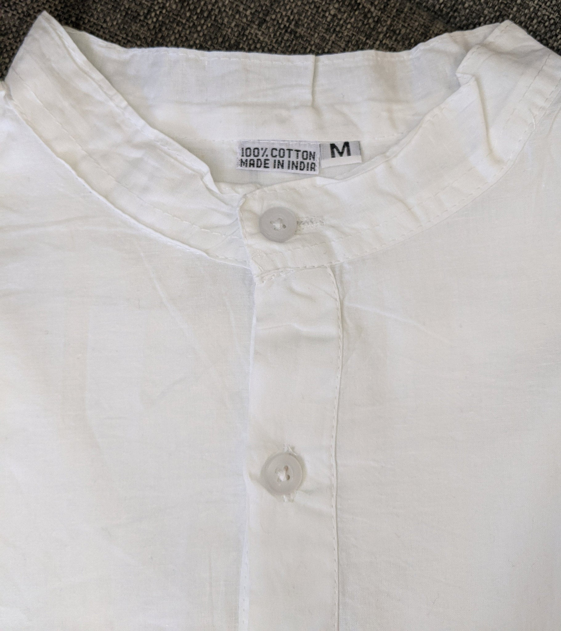 White Cotton Classic Shirt, Tunic, Kurta, Blouse, Band collar for woman or man