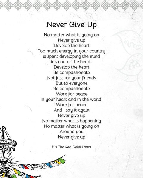 "Quotes Prints for Cards, Wall art, Posters. Wisdom quotes by HH the Dalai Lama ""Never Give Up"" for instant download"
