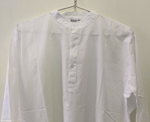 White Cotton Classic Shirt, Tunic, Kurta, Blouse, Band collar for woman or man, Unisex with inner side pocket