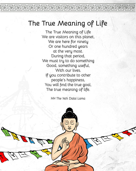 "Quotes Prints for Cards, Wall art, Posters. ""The True Meaning of Life"" Wisdom quotes by HH the Dalai Lama for instant download."