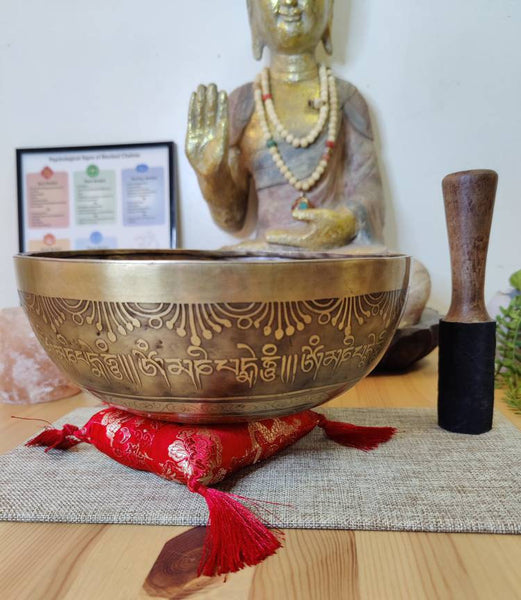 "Tibetan Singing bowl Set with Ganesha design Hand Carving Note D for Sound Healing in 9.5"" wide with a mallet, drum beater & cushion."