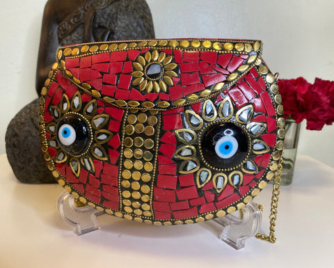 Boho Clutch Metal & Stones Evening Vintage Bag, Handmade Mosaic Purse, Chic metal On-Trend Bag with 2 Evil Eye Protection design.