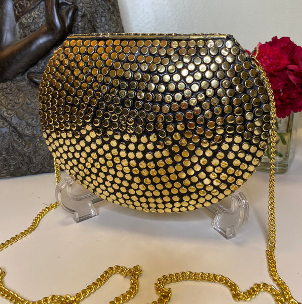 Boho Clutch Metal & stones evening vintage bag, Handmade mosaic purse, Chic Brass Gold with pearl metal bag.