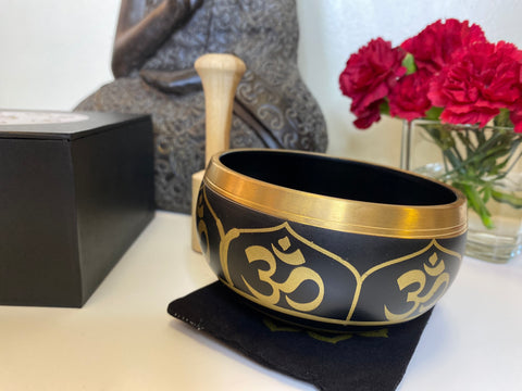 "Om design Singing Bowl set in a box, 4.5"" size. Best Self Care kit for yourself or a Healing gift. Meditation bowl, Sound bowl set."
