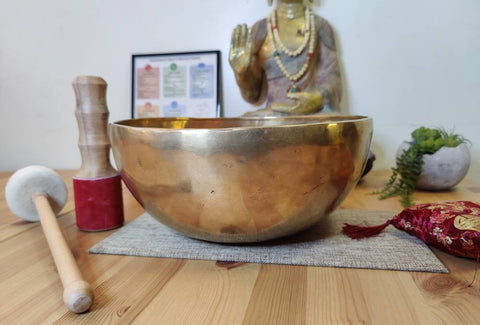 Sound bowl, Singing bowl Set, Note F# for Sound Healing in 12 inches wide with a mallet, drum beater & cushion.
