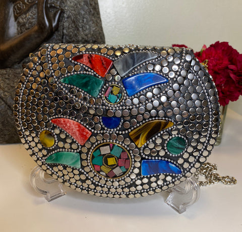 Boho Clutch Metal & stones evening vintage bag, Handmade mosaic purse, Chic Silver metal bag.