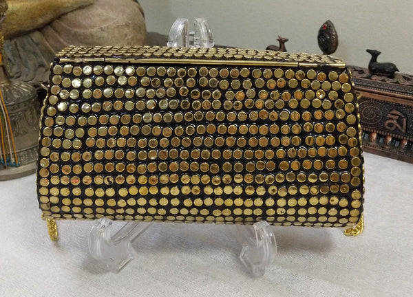 Boho Clutch Brass & Shells Evening Vintage Bag, Handmade Mosaic Purse, Chic metal On-Trend One of a Kind Bag.
