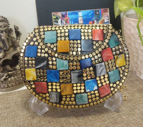 Boho Clutch Metal & Stones Evening Vintage Bag, Handmade Mosaic Purse, Chic metal On-Trend One of a Kind Bag.