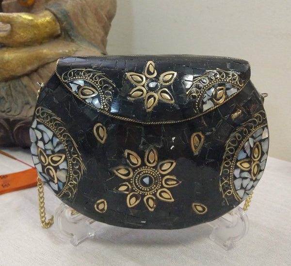 Boho Black Clutch Metal & stones evening vintage bag, Handmade mosaic purse, Chic Silver metal bag.