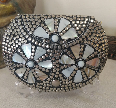 Boho Clutch Silver & Shells Evening Vintage Bag, Handmade Mosaic Purse, Chic metal On-Trend One of a Kind Bag.