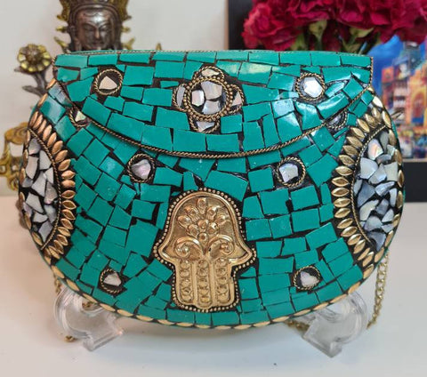 Boho Clutch Metal & Stones Evening Vintage Bag, Handmade Mosaic Purse, Chic metal One of a Kind Bag with Hamsa-Hand of Fatima design.