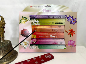 Incense Sticks Variety – Home Fragrance Indian Incense Sticks – 120 sticks Per Set – Includes Incense Stick Holder – Floral Set