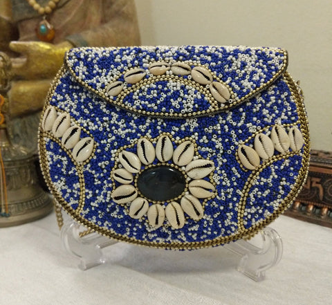 Boho Clutch Metal, Stones & Shells Evening Vintage Bag, Handmade Mosaic Purse, Chic metal On-Trend One of a Kind Bag.