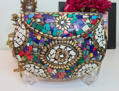 Boho Clutch Metal & Stones Evening Vintage Bag, Handmade Mosaic Purse, Chic One of a Kind Bag.