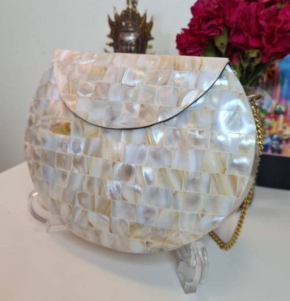 Boho Clutch Metal & Shells Evening Vintage Bag, Handmade Mosaic Purse, Chic metal On-Trend One of a Kind Bag.