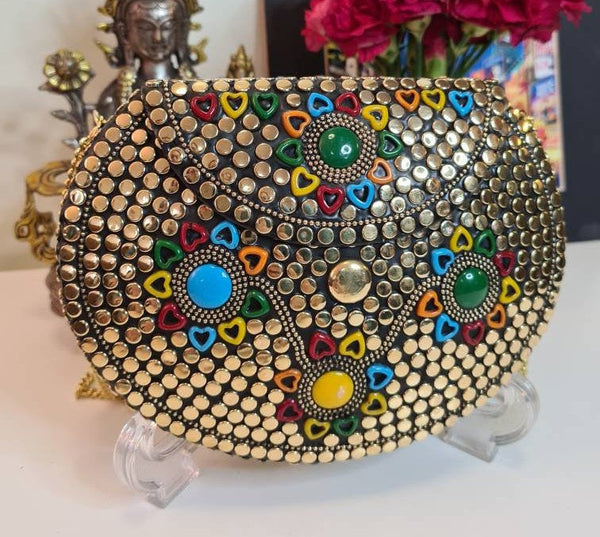 Boho Clutch Silver/Gold Metal & Stones Evening Vintage Bag, Handmade Mosaic Purse, Chic metal On-Trend Bag.