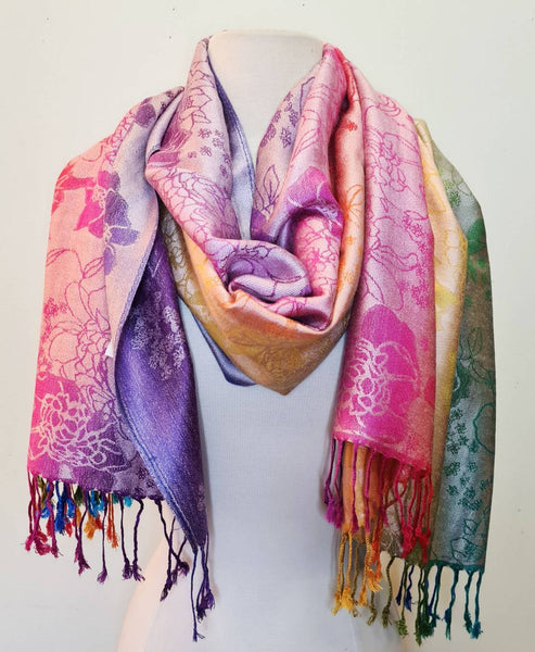 Pashmina & Silk Shawl Wrap Scarf in Flowers print and Rainbow colors.